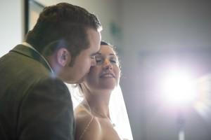 Flash effect wedding kiss