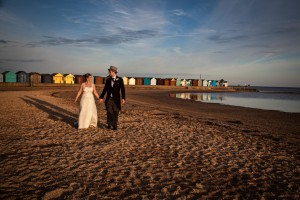 Wedding couple of beach at Southend in Essex
